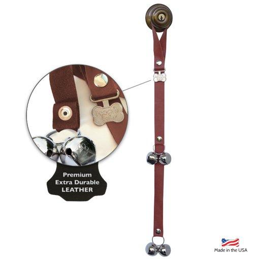 Poochie Bells:  Saddle Brown Leather House Break Training Bells