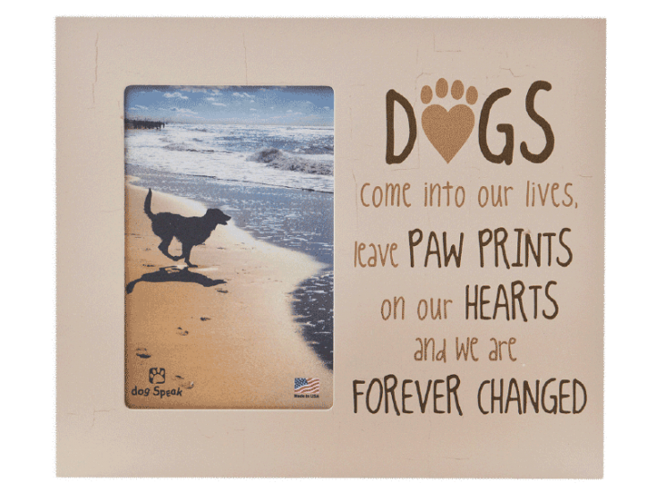 "Sympathy:  Picture Frame ""DOGS come into our lives, leave PAW PRINTS...."""