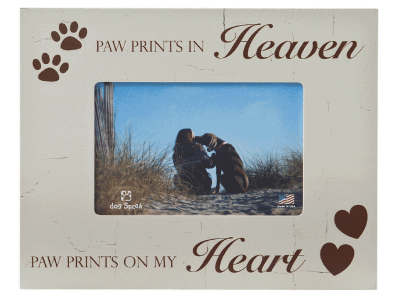 "Sympathy:  Picture Frame ""Paw Prints in Heaven...."""