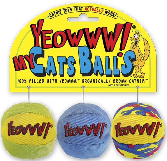 Cat Toy: My Cats Balls 3-pack Yeowww! Stuffed with Organic Catnip