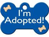 Engraved ID Tag:  Large I'm Adopted Blue Bone Shape