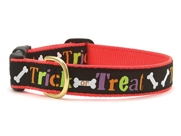 "Dog Collars: 5/8"" or 1"" Wide Holiday, Halloween Trick or Treat Clip Collar"